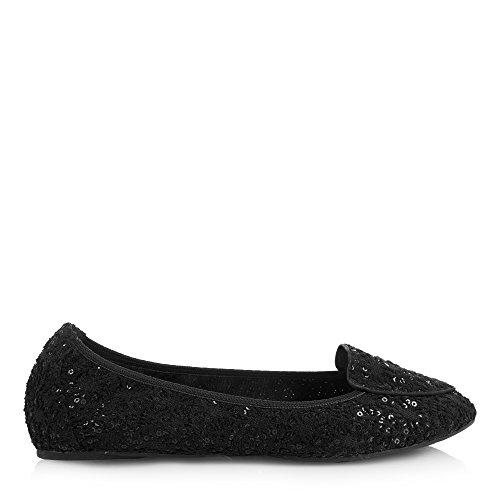Lentejuela Zapatos Royal Ballet Plegables Ballerinas Negro Perdita Mujer Cocorose gPO6qw