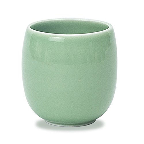 Newchinaroad Longquan ware plum green circular shape teacup-handmade Chinese Kungfu ceramic teacup-traditional porcelain celadon cup 150ml (Celadon Chinese Porcelain)