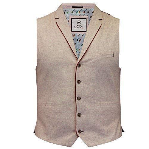 81b043ec96b Cavani Mens Waistcoat Wool Mix Formal Vest Herringbone Tweed Check Party  Smart