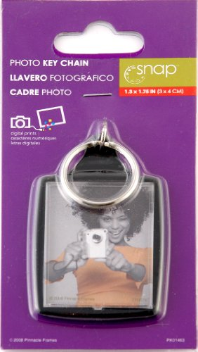 Snap 1.3-inch-by-1.75-inch Black Photo Key Ring