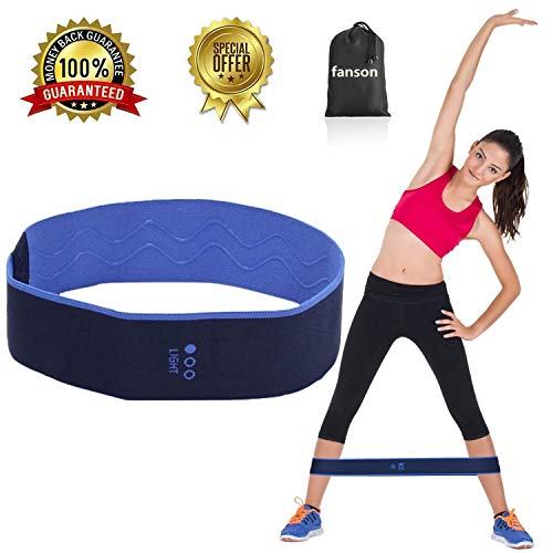 fanson FIT Hip Bands,Hip Resistance Band Legs Butt,Booty Resistance Workout Hip Exercise Bands, Exercise Band + 3 Resistance Loops (18lb)