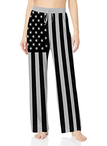 American Lounge Pants - ALISISTER American Flag Pants Women Comfy Palazzo Lounge Bottoms Black Home Sleepwear Novelty Sweatpants Long with Elastic Drawstring White L