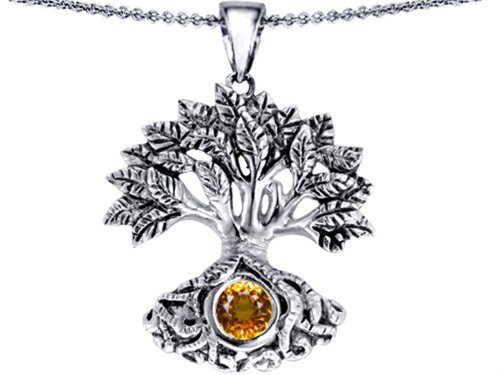 Celtic Tree Of Life Good Luck Pendant 7mm Round Simulated Citrine