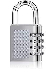 Drenky Combinatie Hangslot 4-Cijferig, 1 Stuk Zilver Zink Legering Anti-Roest Cijfersloten Met Individueel Instelbare Cijfercode voor School, Gym & Sport Locker