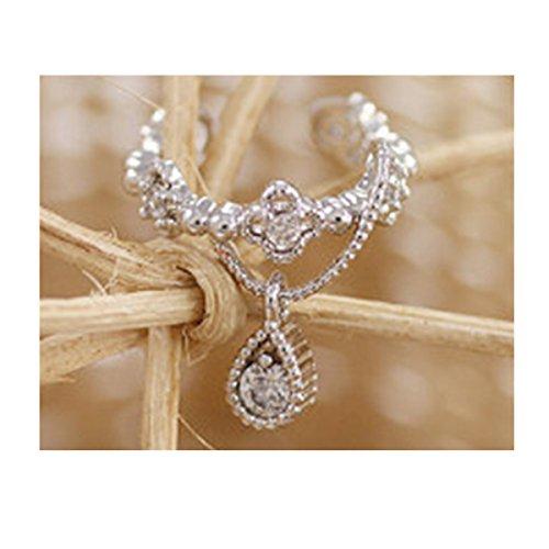Edtoy Alloy Korean Style Cute Non Piercing Rhinestone Ear Cuff (Silvery) ()