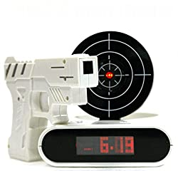 LCD Screen Gun Alarm Clock Shooting Target Stop Panel Game Toy Gifts-color White,advance alarm clock tetris alarm clock medcenter talking alarm clock