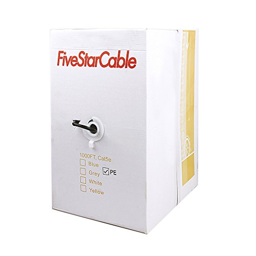 Five Star Cable Cat5e 24AWG 1000 Ft Outdoor UV Rated UTP Ethernet Lan Network CCA ETL Listed Easy Pull Box Cable - BLACK (1000 Ft)