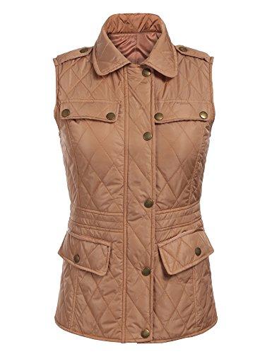 Beige Womens Quilted Vest (ZEAGOO Women Lightweight Outdoor Quilted Puffer Vest Jacket Camel,XL)
