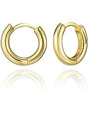 SWEETV Small Hoop Earrings for Women 8mm Tiny Huggie Earrings Sterling Silver Earrings Hypoallergenic Sleeper Earring Jewelry for Men Teens