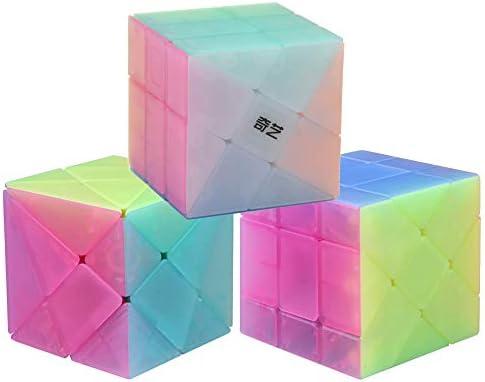 OJIN Jelly Color Design Series Series-Pack de 3 (Incluye 3X3 Cubo de Rompecabezas con ángulo de fluctuación, Molino de Viento, Forma de 2x3 Mod, Fisher Cube 3x3x3 Forma Puzzle de Formas): Amazon.es: