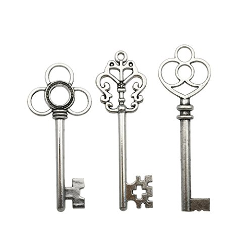 30 PCS Big Skeleton Key Charms Collection - Mixed Antique Silver Steampunk Gear Wedding Heart Key Metal Pendants for Jewelry Making DIY Findings (30 Silver Key ()