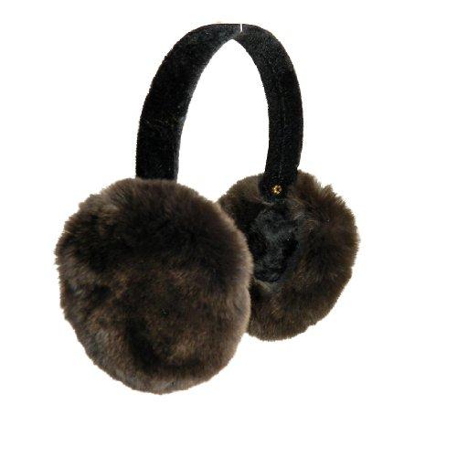 (Surell Accessories Rex Rabbit Fur Earmuffs on Velvet Band. One Size- Brown)