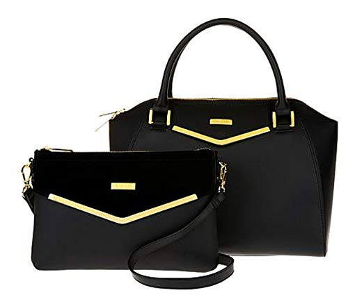 Couture Clutch - JOY & IMAN Couture Leather Satchel & Clutch with Velvet Detail ~ Black