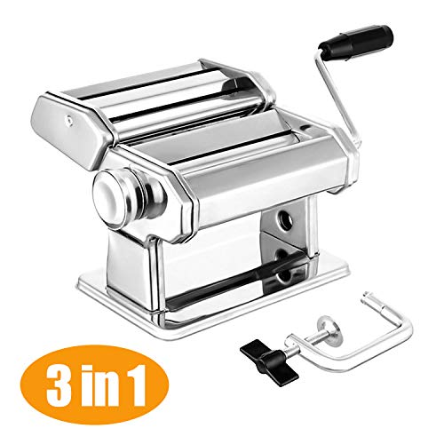 Pasta Maker Deluxe Set, Elegant Life Sturdy Homemade 150mm Pasta Maker All in one 7 Thickness Settings for Fresh Fettuccine Spaghetti Lasagne Dough Roller Press Cutter Noodle Making Machine