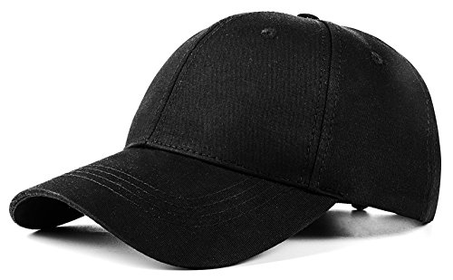 Quality Merchandise - Unisex Plain Easy Adjustable Baseball Cap Hat Modern Design by Izus, Black, Free