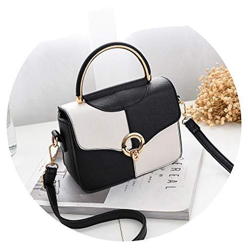 Bolso de mano para mujer, estilo casual, con anilla de metal, con corchetes, bandolera, bandolera, Negro Blanco, Talla unica