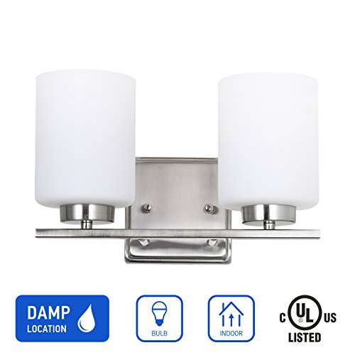 IN HOME 2-Light Vanity/Bathroom Fixture VF44 Series, 2 x E26 60 Watt Equivalent Bulb Socket, Brushed Nickel Finish with White Glass Shade, UL listed Modern Nickel 2 Light