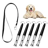 Pawaboo Dog Training Whistle 5 Pack, Professional Ultrasonic High Pitch Adjustable Volume Dog Train Whistle to Stop Barking, Silent Dog Bark Control Tool for Training Pets with Lanyard Strap, Black