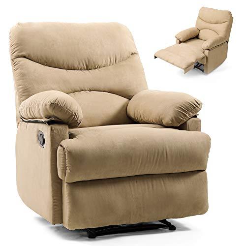 Artist Hand Massage Recliner Chair Living Room Chair Bedroom Chair Reading Chair (Tan) (Tan Microfiber Accent Chair)