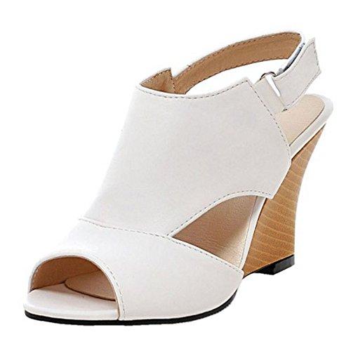 COOLCEPT Damen Fashion Keilabsatz Hohe Heels Peep Toe Gladiator Sandalen Weiß