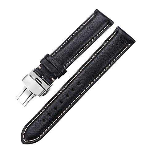 - iStrap 22mm Genuine Leather Watch Band Padded Strap Steel Butterfly Deployment Clasp Super Soft-Black