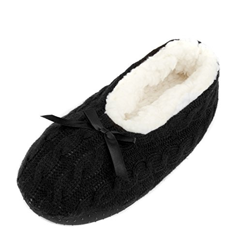 Leisureland Womens Knit Fleece Lined Solid Color Slippers Black Qj22fcFdl4