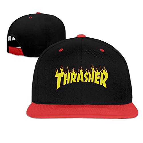 baseball cap hip hop hat Thrasher Skateboard yellow logo hat Red (5 colors)