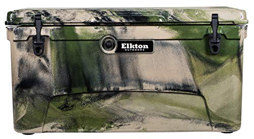 Elkton Outdoors Ice Chest. Heavy Duty, High Performance Roto-Molded Commercial Grade Insulated Cooler, 110-Quart, Camo