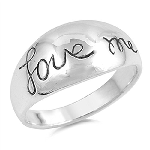 Cursive Love Promise Ring - Cursive Love Me Word Script Promise Ring New 925 Sterling Silver Band Size 10