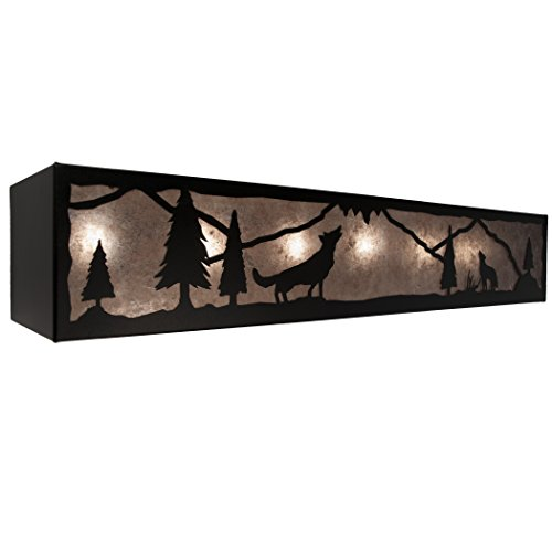 - Steel Partners Lighting 2694-6-MB-BG Vanity - Timber Ridge - A Wolf Was Here - 6 Lights with Mountain Brown Finish & Bungalow Green Lens