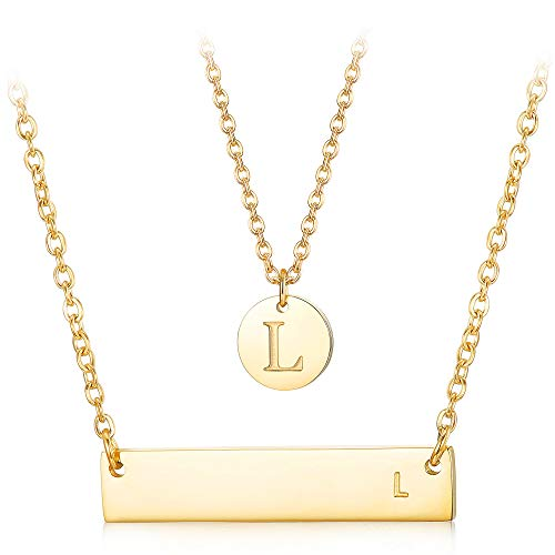 LOYALLOOK 2Pcs Letter Necklace Initial Chain Gold Tone Initial Bar Necklace Disc Alphabet Pendant Necklace Mother's Day Jewelry Gift for Women ()