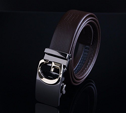 Cowhide Buckle (Men 's belt leather automatic buckle cowhide business belt youth casual England trousers,C)