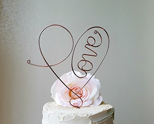 LOVE HEART Wedding Cake Topper in OXIDIZED COPPER Color, Wedding Cake Decoration, Anniversary Cake Decoration, Bridal Shower Decoration, by AntoArts