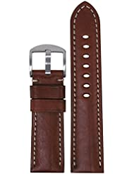 24mm XL Panatime Classic Officer Brown-Red Vintage Genuine Leather Watch Band with Off-White Stitching 24/22...