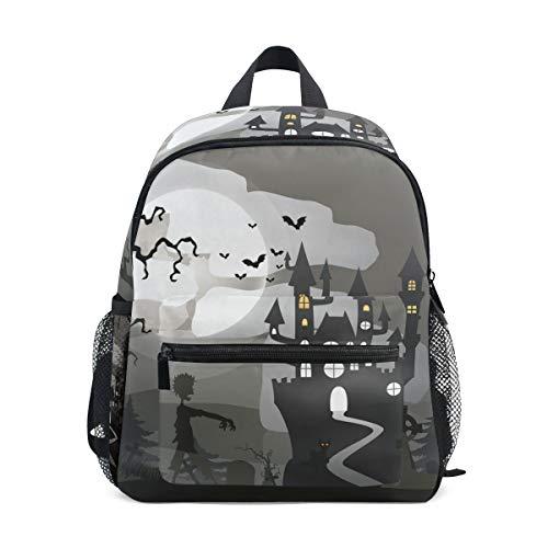 MUOOUM Castle Bat Halloween Kids Backpack Pre-School Toddler Bag Travel Daypack