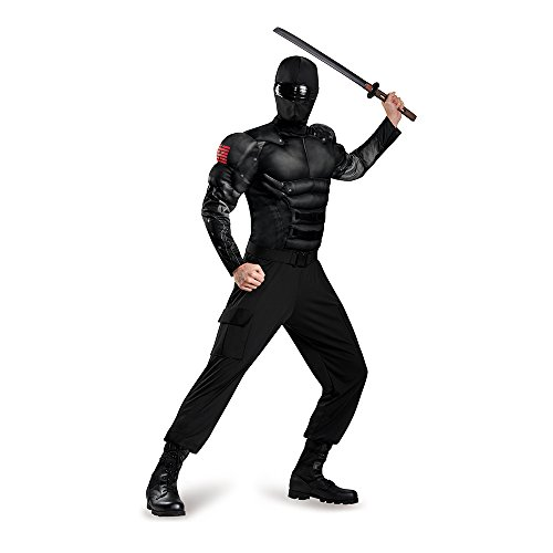 Gi Joe Costume (Disguise Men's Snake Eyes Classic Muscle Adult Costume, Black,)