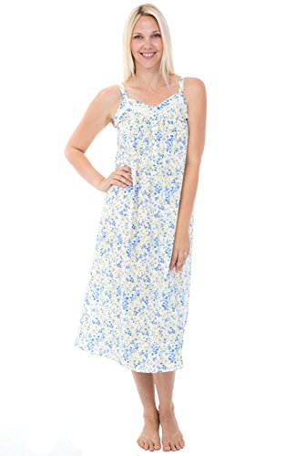 Alexander Del Rossa Womens 100% Cotton Lawn Nightgown, Long Tank Top Chemise, XX-Large Blue and Yellow Flowers (A0582L122X)