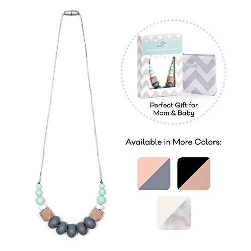 Goobie Baby Harper Silicone Teething Necklace for Mom to Wear, Safe BPA Free Beads to Chew - Mint/Grey