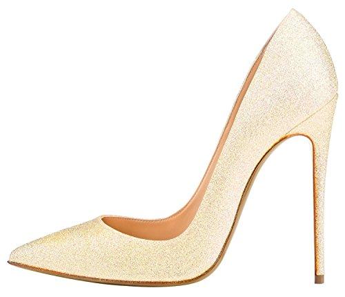 Guoar Womens Big Size Scarpe A Punta Stiletto Luccicanti Scarpe Con Tacchi Alti Per La Festa Di Nozze A-giallo