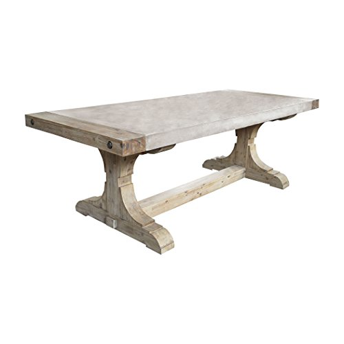 Ben&Jonah Manhattan Collection Pirate Concrete and Wood Dining Table with Waxed Atlantic Finish