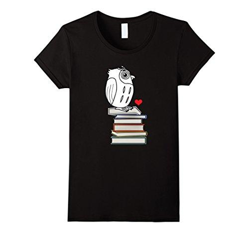 Book Nerd Costume (Womens Owl Book Nerd Reading Teacher Student Geek Funny T-Shirt Medium Black)