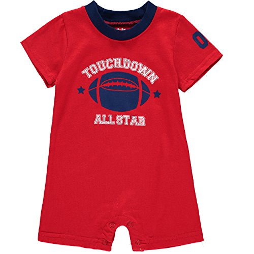 Wan-A-Beez Baby Boys' 2 Pack Graphic Short-Sleeve Romper - Red/Navy - Football - 6/9 Months