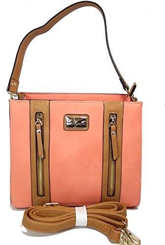 Noelle Vegan Faux Leather Medium Structured Zipper Handbag In Citrus No-bp-hb-21 Citrus