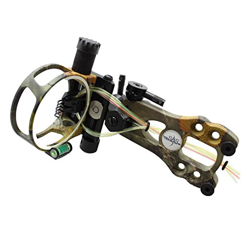 SAS 5 Pins .019 Fiber Optic Bow Sight with Micro Adjustments and LED Light - Bow Sight Aluminum Fiber