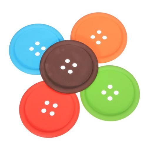 Round Button Shaped Cup Mats - SODIAL(R)5 Colors Round Button Shaped Non-slip Insulated Silicone Cup Mats Coasters Holders