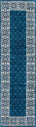 Well Woven Casa Tuscany Dark Blue Ivory Modern Classic Mediterranean Tile Border Floral 2x7 (2' x 7'3