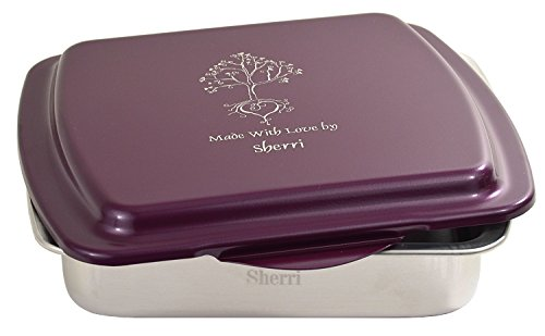 Beautiful Personalized 9 X 9 inch Cake Pan & Laser Engraved Lid with 110 Beautiful Artworks