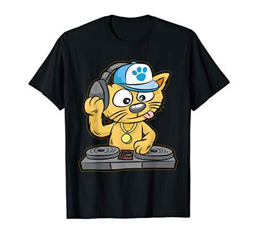 DJ Cat T-Shirt | Kitty scratch turntable Scratcher Gift (Dj Cat Scratch)