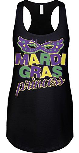 Blittzen Womens Tank Mardi Gras Princess, XL, Black (Mardi Gras Fashion)