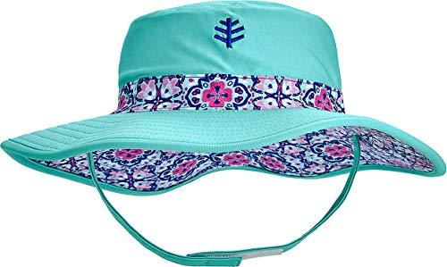 - Coolibar UPF 50+ Baby Girls' Reversible Beach Bucket Hat - Sun Protective (2T-3T- Aqua Spanish Mosaic)